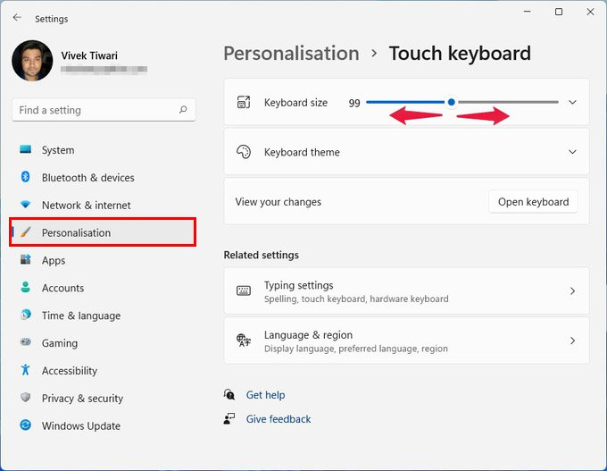 Customize Touch Keyboard size on Windows 11