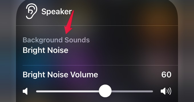 background sound menu control center
