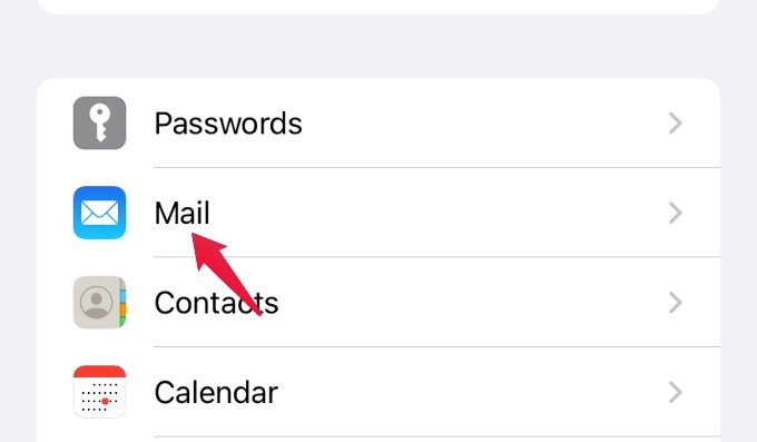 settings menu mail option iphone
