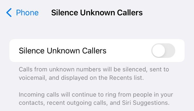 silence unknown callers