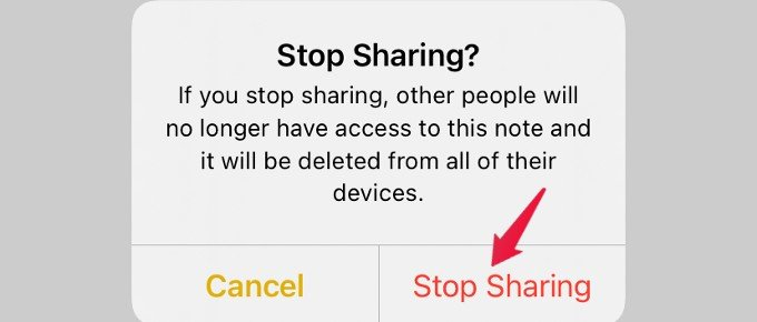 stop sharing note confirmation screen