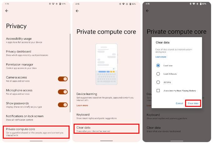 Delete Private Compute Core data in Android 12