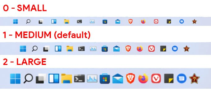reduce or increase size of taskbar in windows 11
