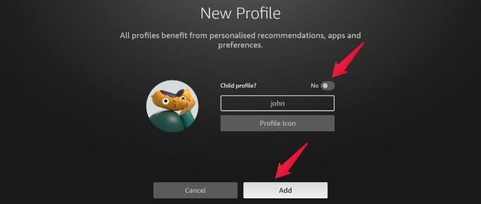 create adult profile fire tv