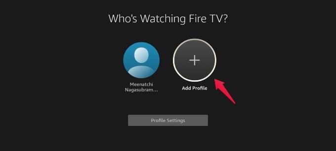 fire tv add profile option