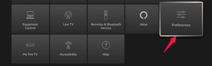 fire tv list of settings