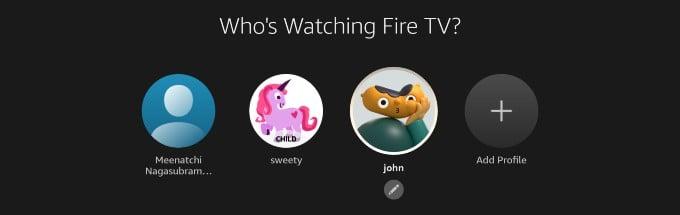 list of user profiles fire tv