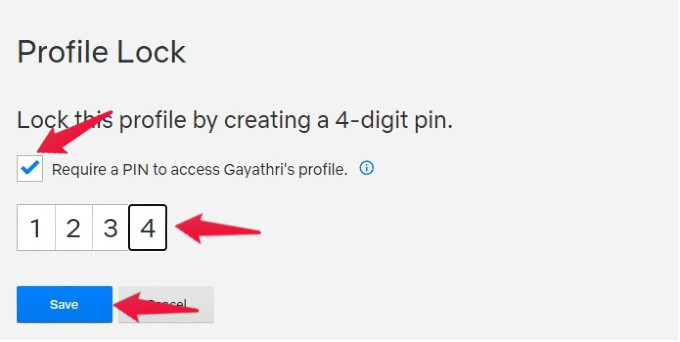 nnetflix lock profile with pin